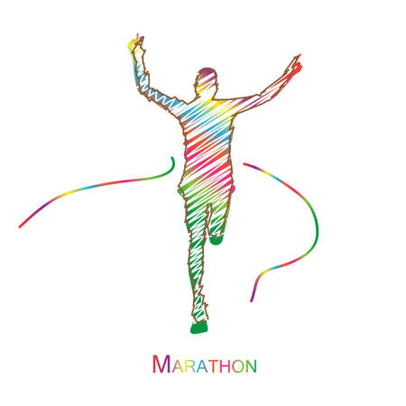 Colorful Marathon the winner,white background.