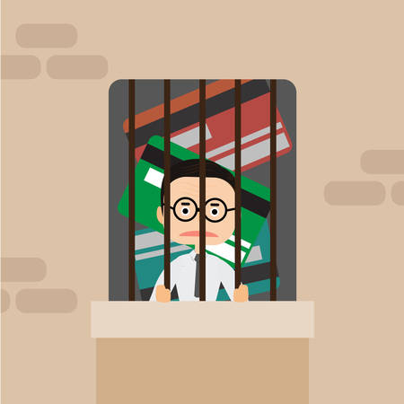 Businessman in Prison bars and credit card illustrator. Ilustrace