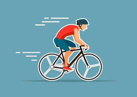 man riding on bike,vector illustrations on blue background Ilustrace
