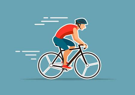 man riding on bike,vector illustrations on blue background Illustration