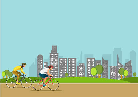 Illustration of sport  Healthy summer cycling  in park. Active people ride bike. Sports lifestyle vector concept. Ilustrace