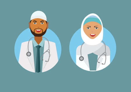 Muslim Doctor and Nurse illustration icon. Medical concept