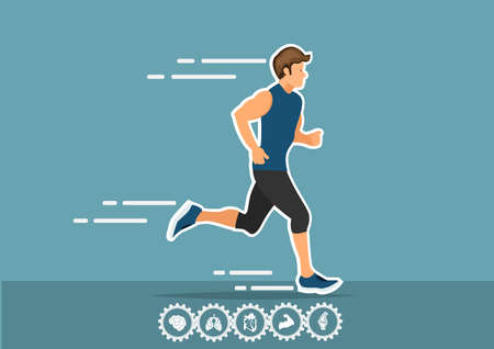 running and icon infographics concept in flat style
