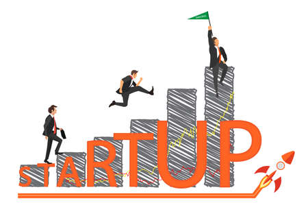 Starting business vector growth concept. three Businessmen walking on chart graphic to win business illustration