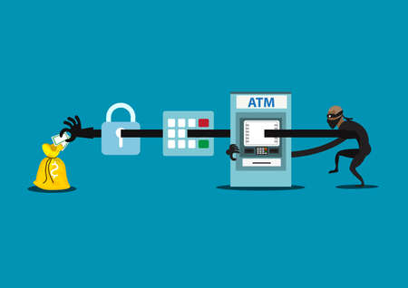Vector flat illustration thief  steals money from ATM, blue cash machines, in black shirt, robber in mask. Criminal person