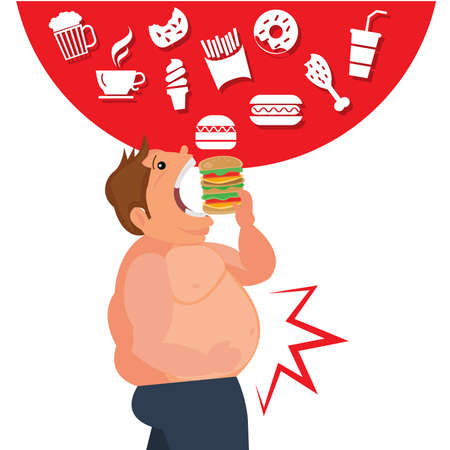 Cartoon happy eating junk food and the Dangers of Belly Fat.