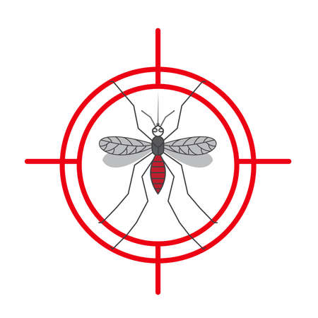 Mosquito warning protection sign. Anti mosquitoes, insect control vector symbol illustration.