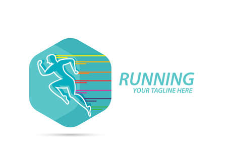 Man sprint running logo design vector.