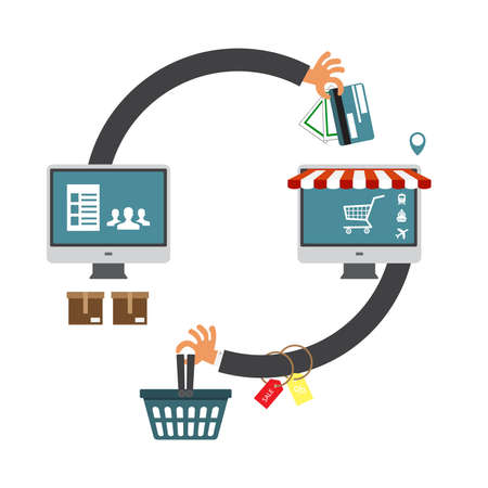 laptop computer online shopping concept. Online store, shopping cart icon. Ecommerce.  illustration
