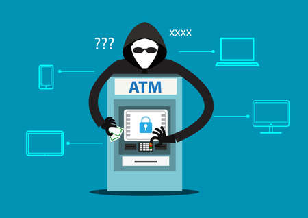 flat illustration thief steals money from ATM, blue cash machines, in black shirt, robber in mask. Criminal person,icons technology Ilustrace