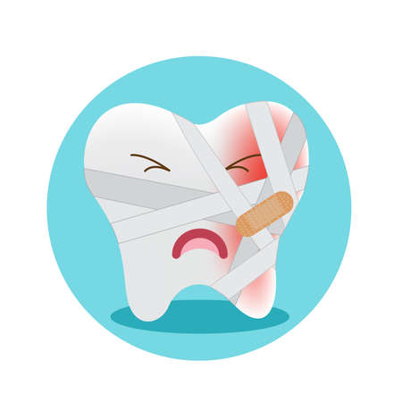 Pain tooth, toothache cartoon character, vector illustration