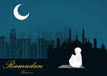 young woman praying alone on ramadan peace night,illustrator Illustration