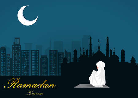 young woman praying alone on ramadan peace night,illustrator Ilustrace