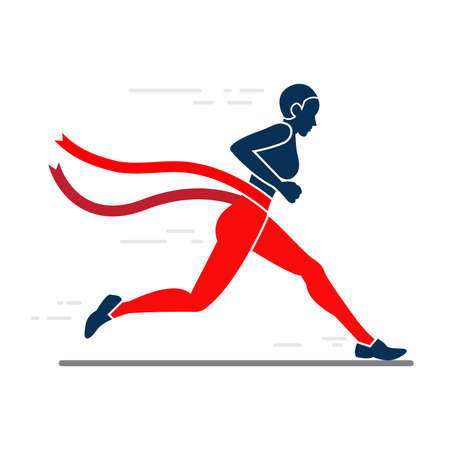 woman sprint running to win design. Ilustrace