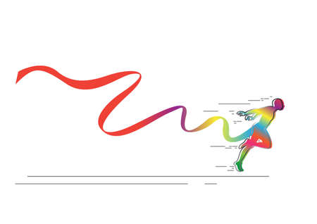 colorful Man sprint running to win design.