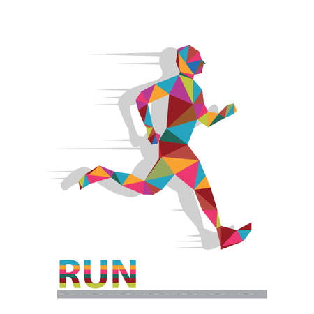 Marathon the winner,colorful polygonal  background