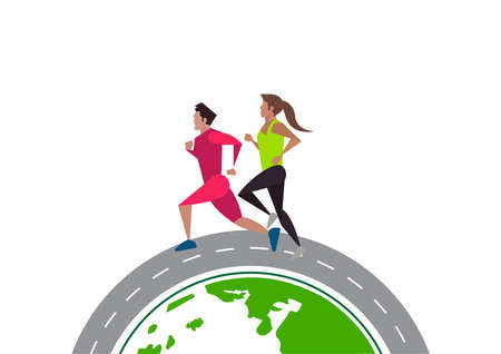 Active man and woman  running on public world street sports illustrated Ilustrace