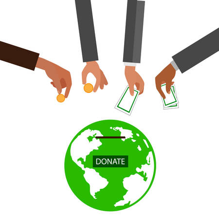 Hands putting gold coin and money in donation box. illustration in flat style,