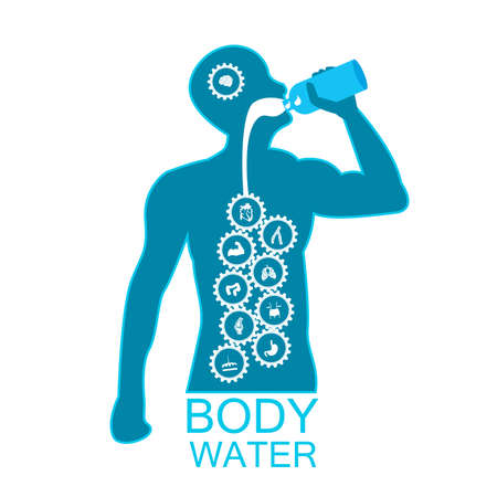 body health infographic illustration drink water icon dehydration symptoms Ilustrace
