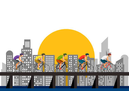 many man riding bike to cross bridge in city Background Illustration.