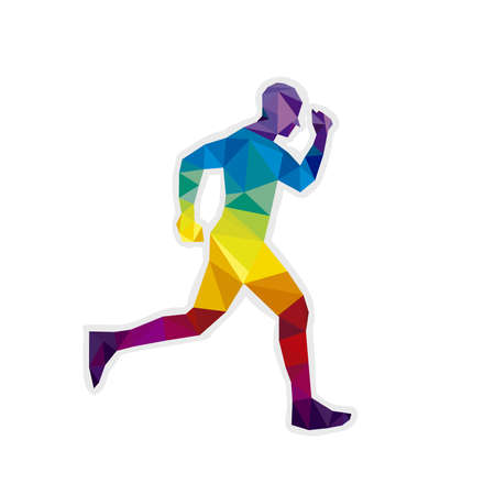 Marathon the winner,colorful polygonal background.