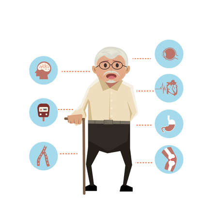 old man with disease icons on white the background.