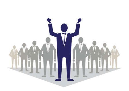 Business man standing with open arms on the background of team business. illustration flat. Business success and leadership Ilustrace