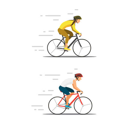 woman and man riding bike. Flat cyclist on bicycles . Sport  activity bike illustration