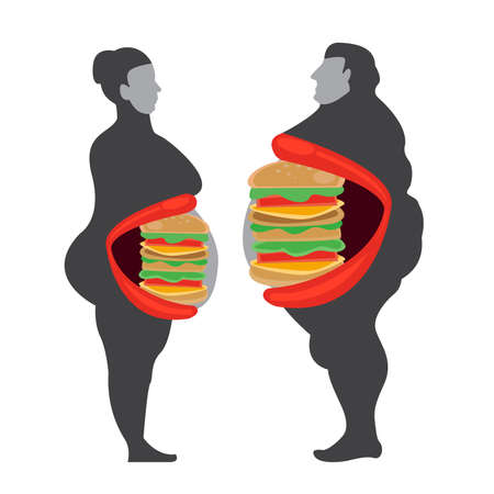 man and woman fat eating hamburger concept illustrator. Ilustrace