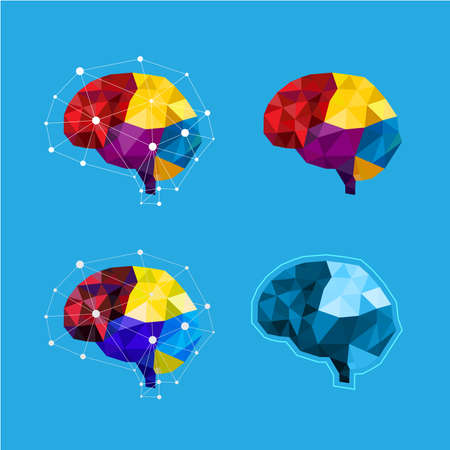 Colorful Cloud brain concept polygon style on blue background, vector