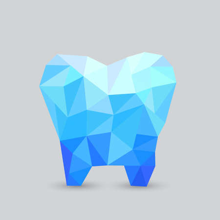 Polygonal abstract tooth. Blue  poly tooth illustration.