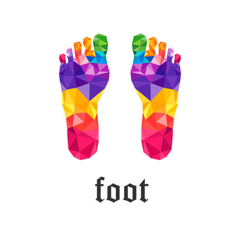 left and right Foot colorful polygon 일러스트