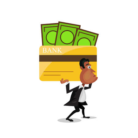 businessman carrying a big credit card of debt on his shoulder. This Illustration is concept about credit card debt. Ilustrace