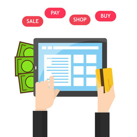 Tablet in hands of a men buying on internet. flat design. Shopping pay on tablet screen. Online shopping concept.illustrator Ilustrace