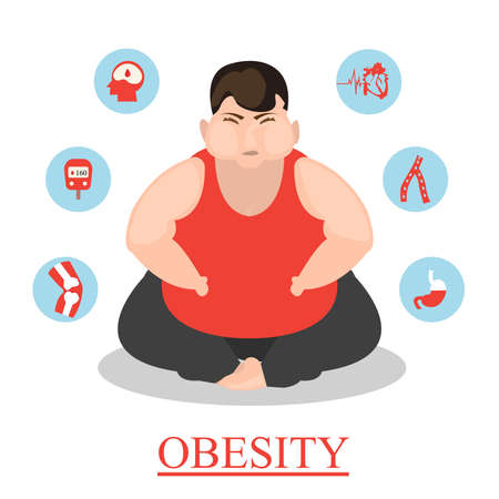 infographic cartoon Obesity illustration Poster template The effect of obesity on the health and human internal organs Medical poster in flat design