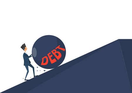Businessman pushing roll debt on uphill