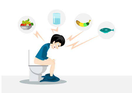 man sitting on a toilet constipation with icons fish,water ,vegetable and banana concept.