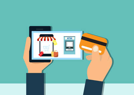 mobile in hands of a men buying on internet. flat design. Shopping pay on mobile screen. Online shopping concept. Ilustrace