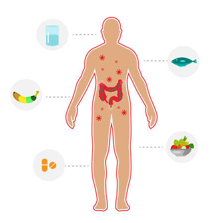 human body Constipation and eat method protect for Constipation by drink water ,fruit,fish and vegetable etc. concept illustrator Illustration