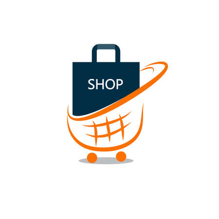vector shopping bag with cart logo design.illustrator.