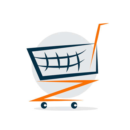 Illustrated white shopping cart icon on gray background Ilustrace