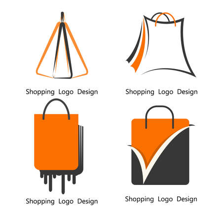 Bag shopping icon logo design  template. Ilustrace