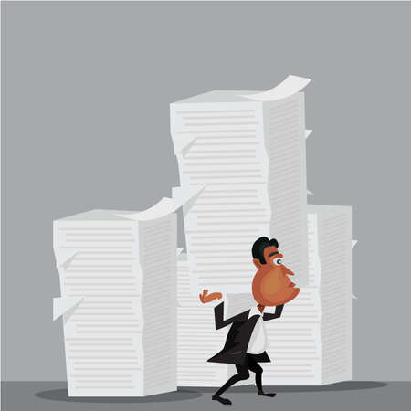 businessman holding paper. concept man  hard working Ilustrace