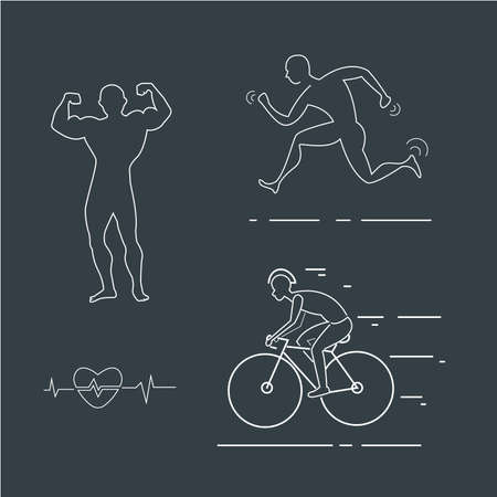 Running,bike man linear icon. Thin line illustration. Runner, sprinter. Escape. Jogging. Motion contour symbol. Vector isolated outline drawing Ilustrace