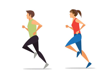 The runner. Running sportsman in flat with gradient design, packing for sports goods. illustration.