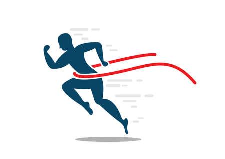 Man sprint running to win flat icon Ilustrace