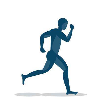 blue man running icon design Ilustrace