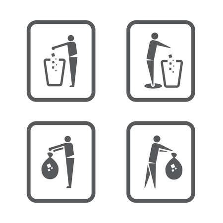 sign human with multi Garbage Trash Bins illustrator.