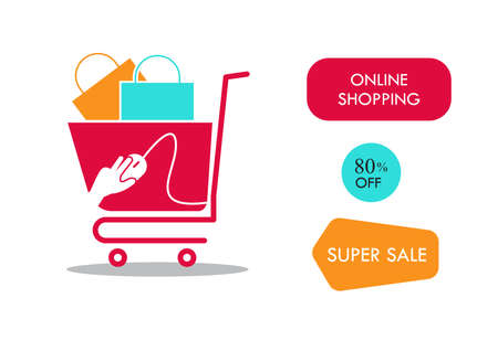 Cart on wheels with shopping on sale icon. illustration