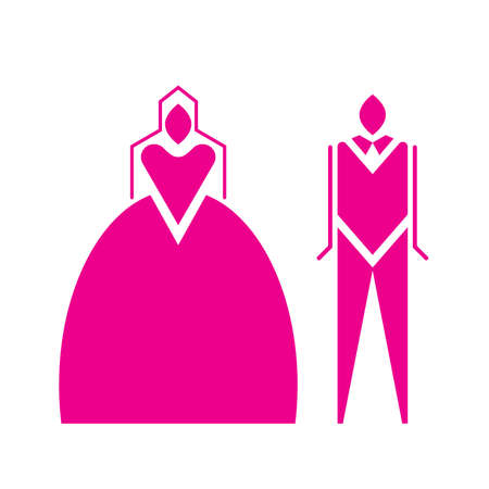pink Bride and groom icon in flat style . Wedding and celebration symbol Ilustrace